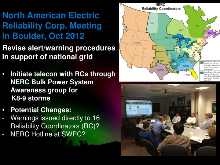 North American Electric Reliability Corp. Meeting in Boulder, Oct 2012