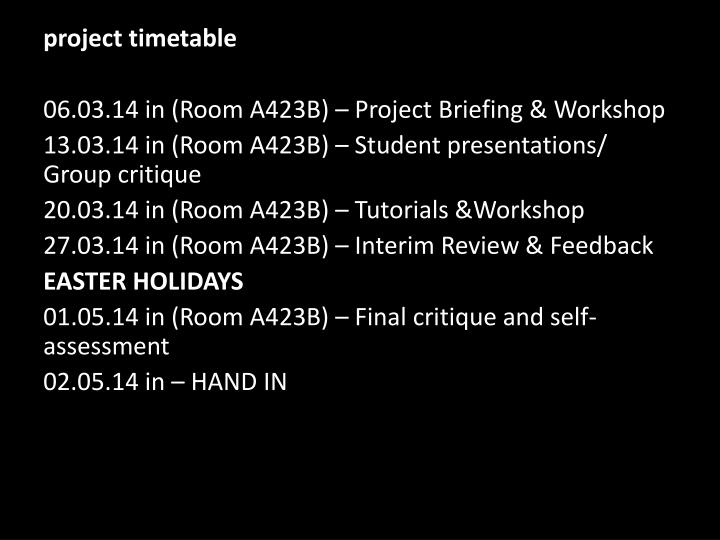 project timetable