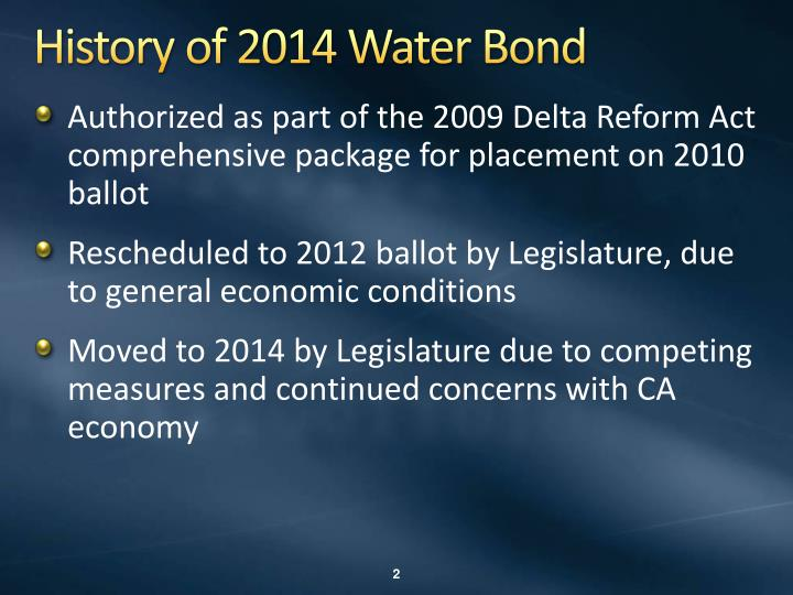 History of 2014 water bond