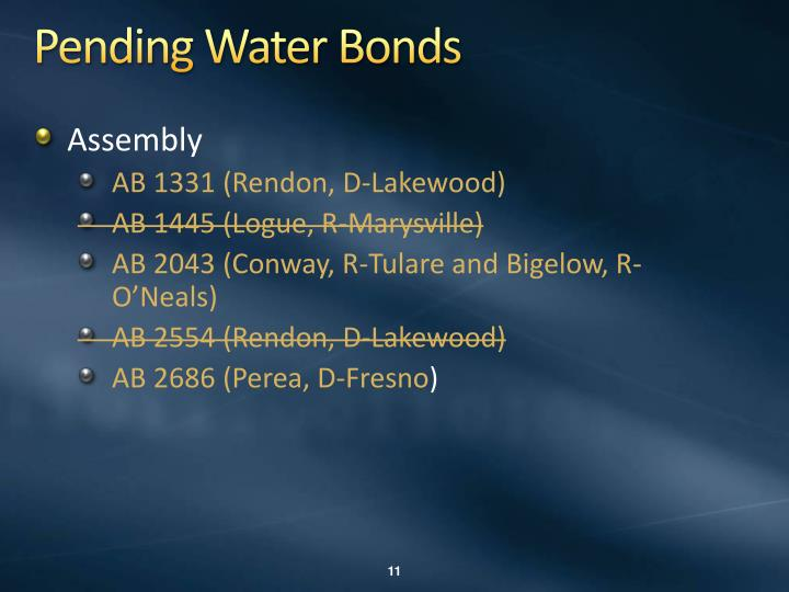 Pending Water Bonds