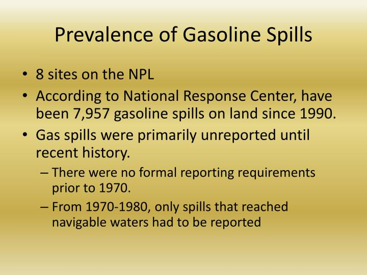 Prevalence of Gasoline Spills