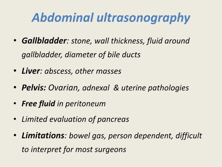 Abdominal ultrasonography