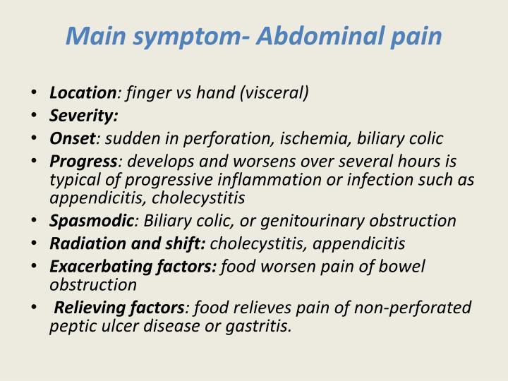 Main symptom-