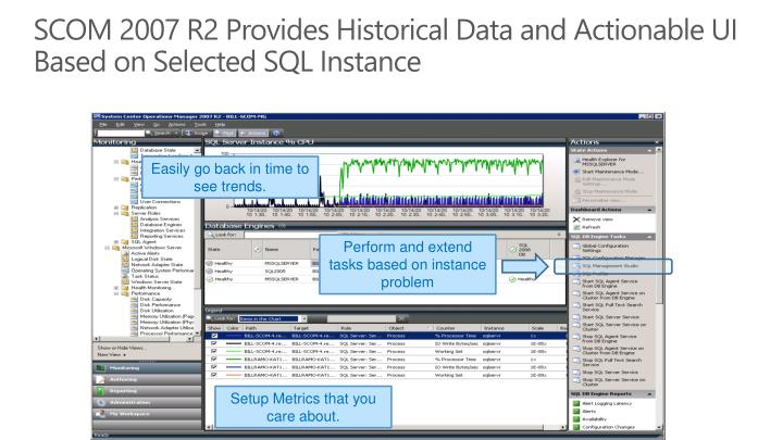 SCOM 2007 R2 Provides Historical Data and Actionable UI Based on Selected SQL Instance