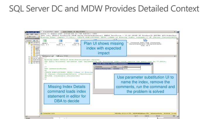 SQL Server DC and MDW Provides Detailed
