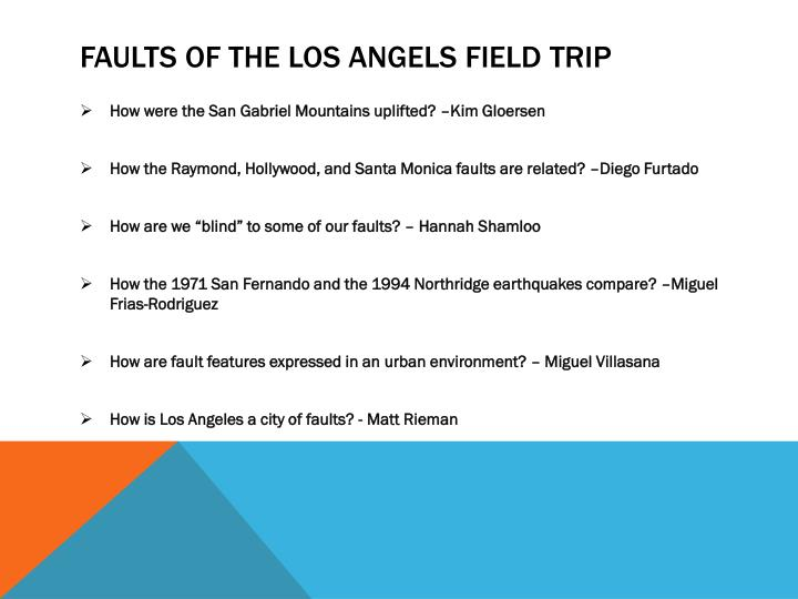 Faults of the Los Angels Field trip