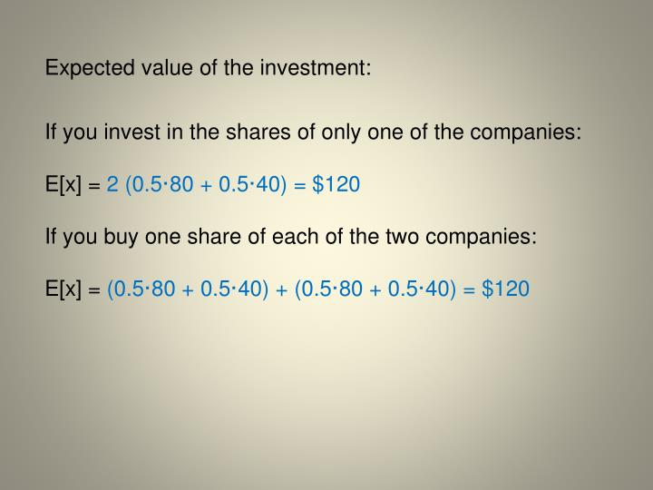 Expected value of the investment: