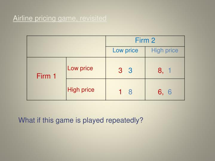 Airline pricing game, revisited