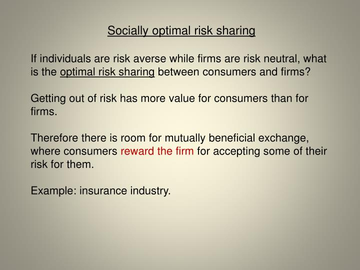 Socially optimal risk sharing