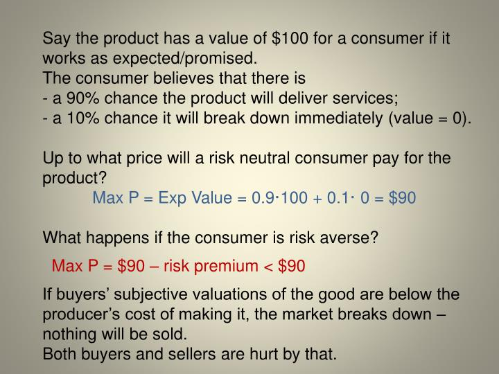 Say the product has a value of $100 for a consumer if it works as expected/promised.