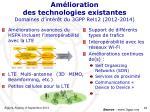 am lioration des technologies existantes domaines d int r t du 3gpp rel12 2012 2014