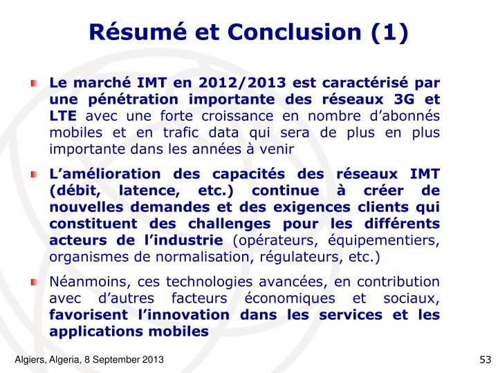 Résumé et Conclusion (1)