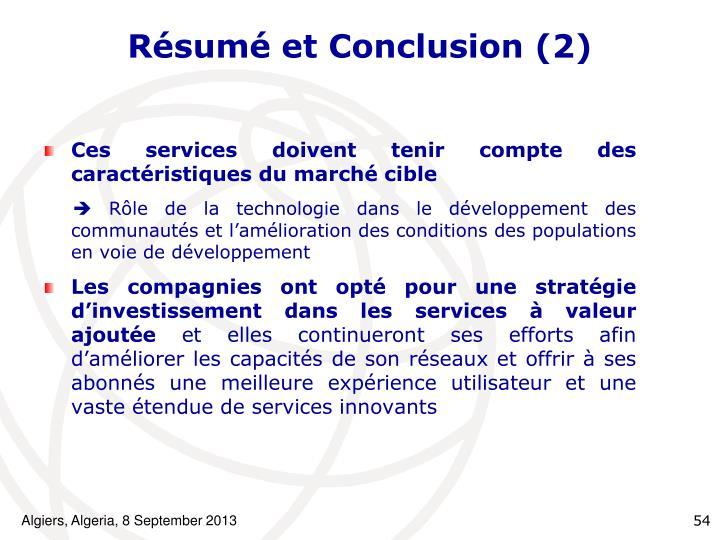 Résumé et Conclusion (2)
