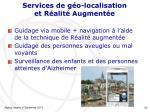 services de g o localisation et r alit augment e