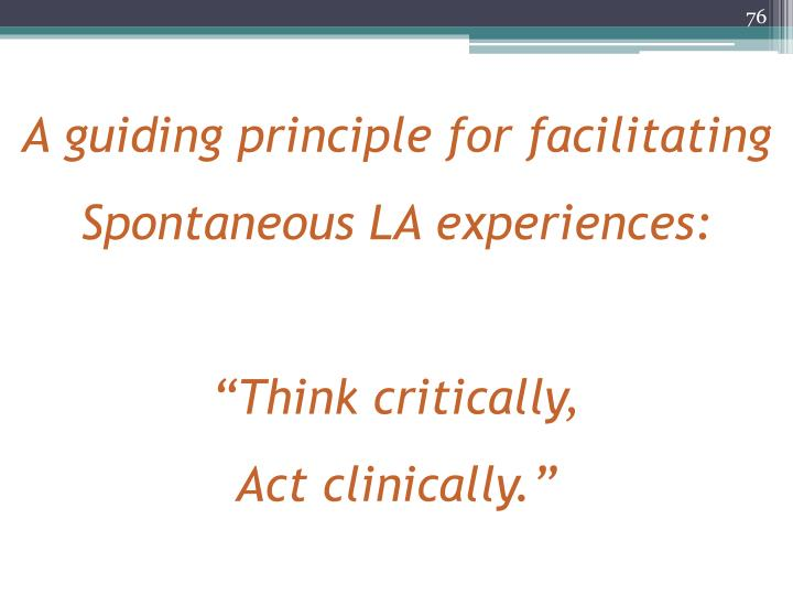 A guiding principle for facilitating Spontaneous LA experiences: