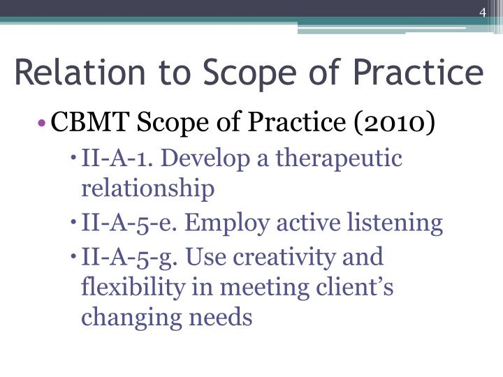 Relation to Scope of Practice