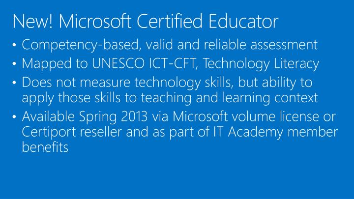 New! Microsoft Certified Educator