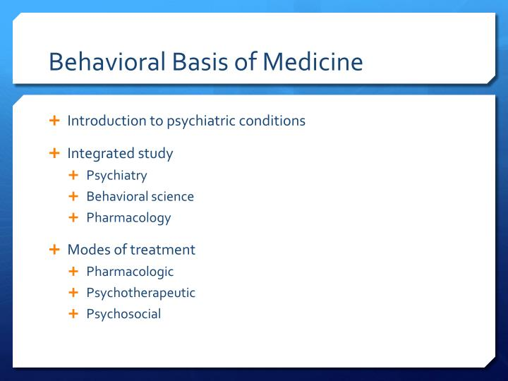 Behavioral Basis of Medicine