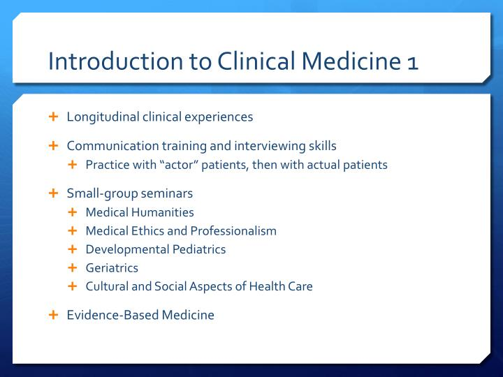 Introduction to Clinical Medicine 1