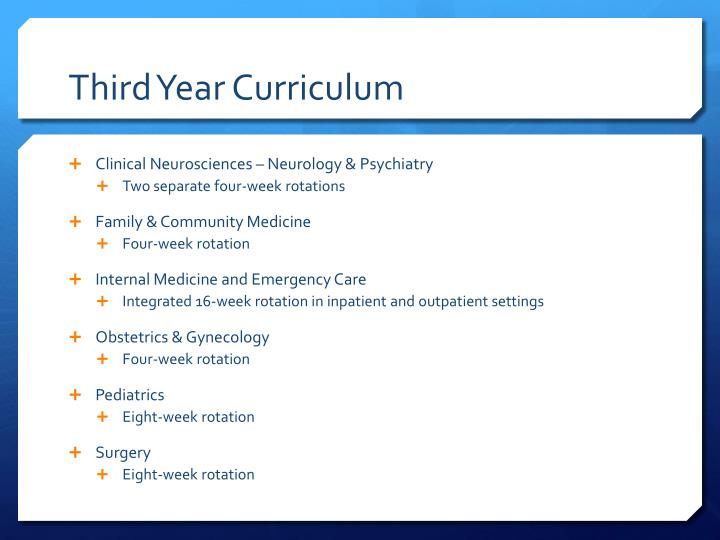 Third Year Curriculum