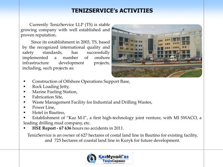TENIZSERVICE's ACTIVITIES