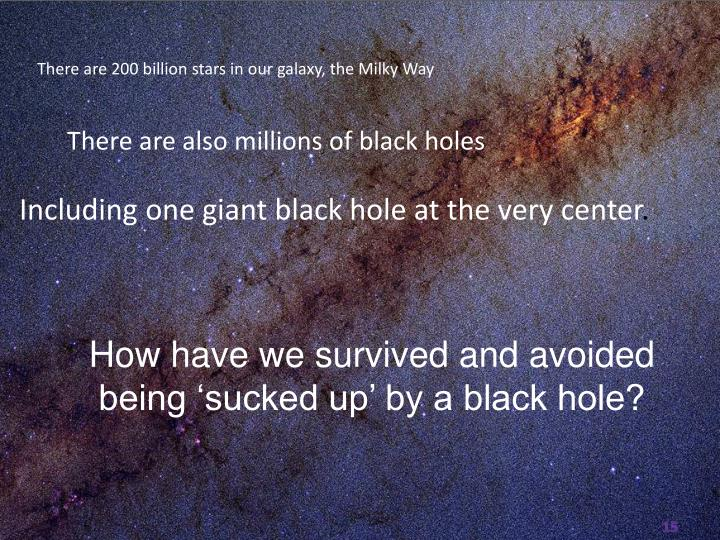 How have we survived and avoided being 'sucked up' by a black hole?