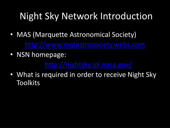 Night sky network introduction
