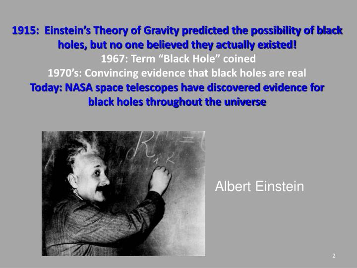 1915:  Einstein's Theory of Gravity predicted the possibility of black holes, but no one believed they actually existed!