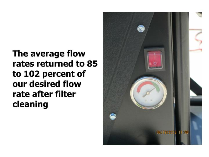 The average flow rates returned to 85 to 102 percent of our desired flow rate after filter cleaning