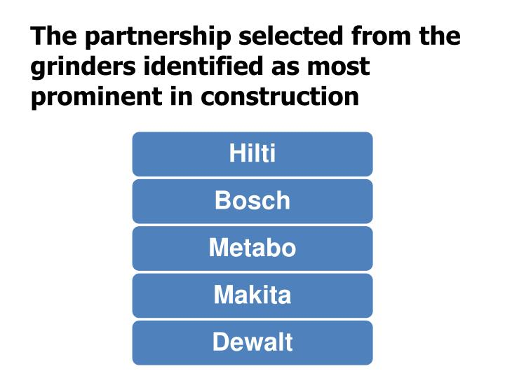 The partnership selected from the grinders identified as most prominent in construction
