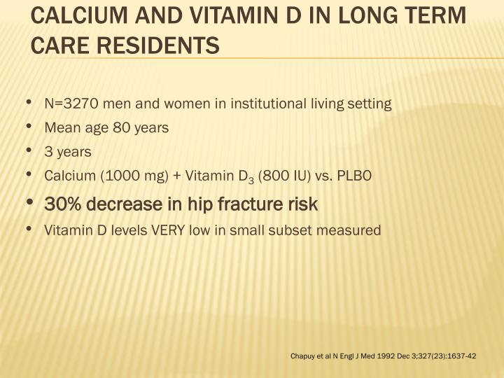 Calcium and Vitamin D in Long Term Care