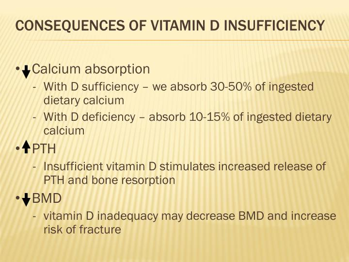 Consequences of vitamin D insufficiency