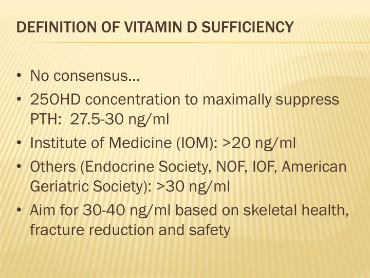 Definition of vitamin D Sufficiency