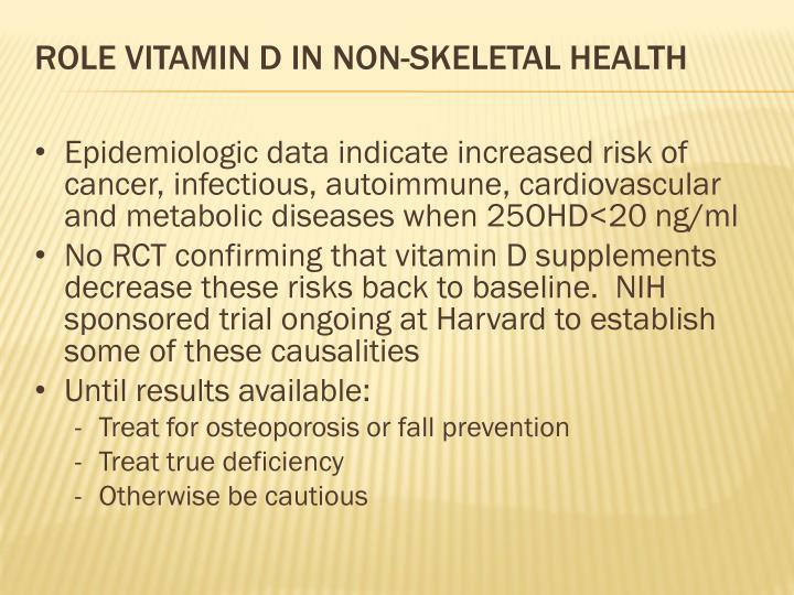 Role vitamin D in non-skeletal health