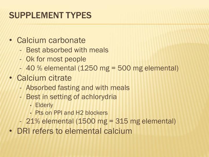 Supplement types