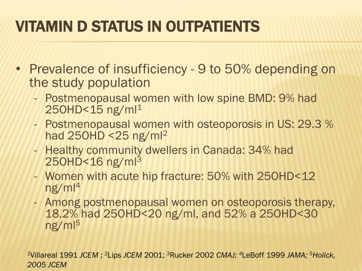 Vitamin D status in Outpatients