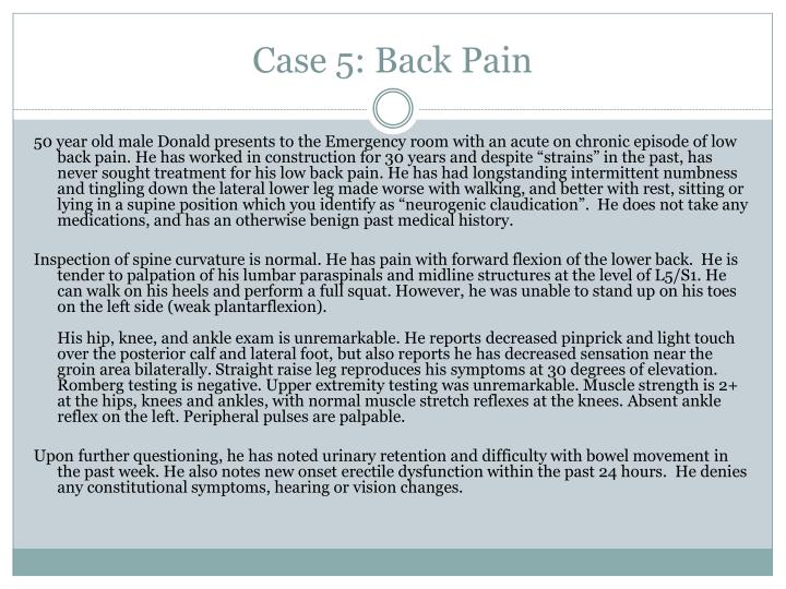 Case 5: Back Pain