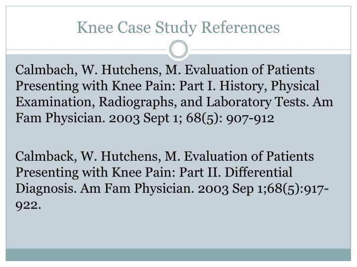 Knee Case Study References