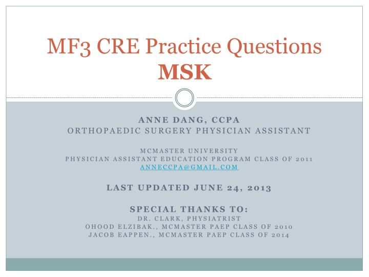 MF3 CRE Practice Questions