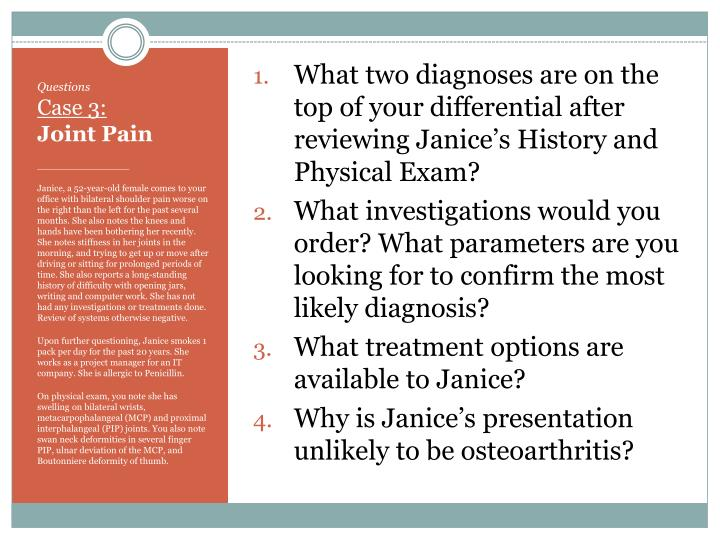 What two diagnoses are on the top of your differential after reviewing Janice's History and Physical Exam?