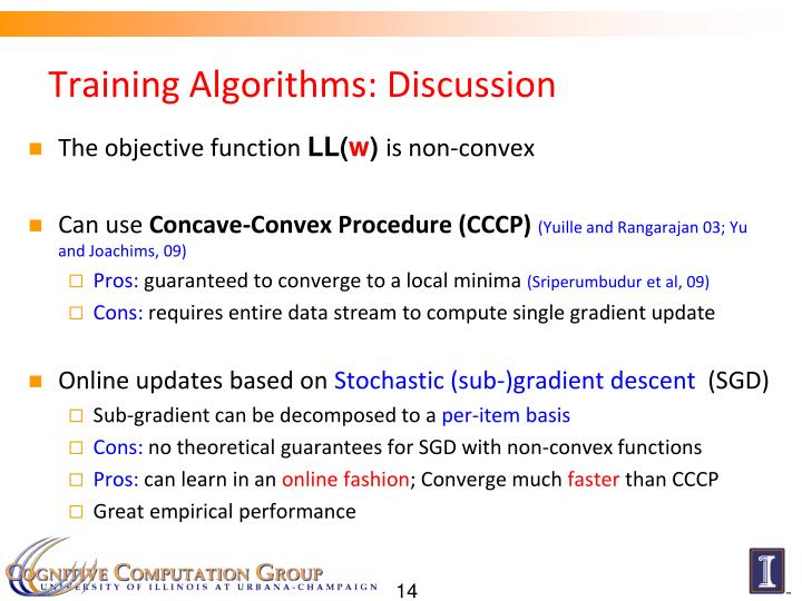 Training Algorithms: Discussion