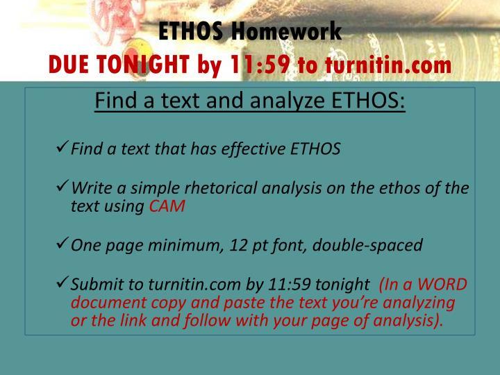 ETHOS Homework