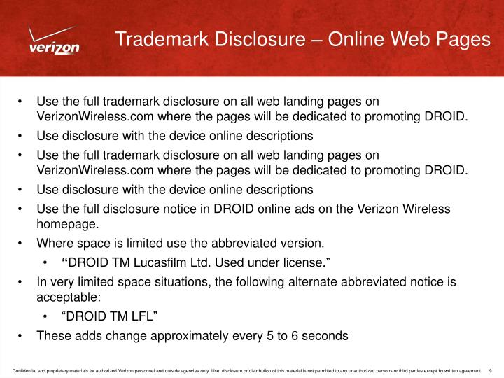 Trademark Disclosure – Online Web Pages