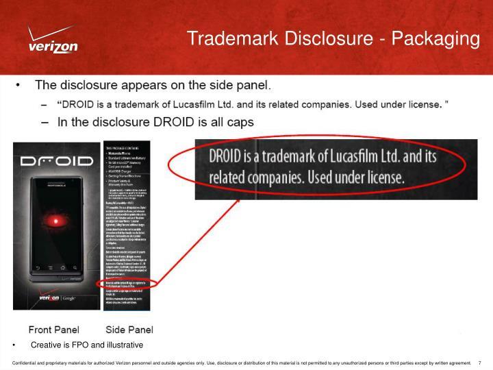 Trademark Disclosure - Packaging
