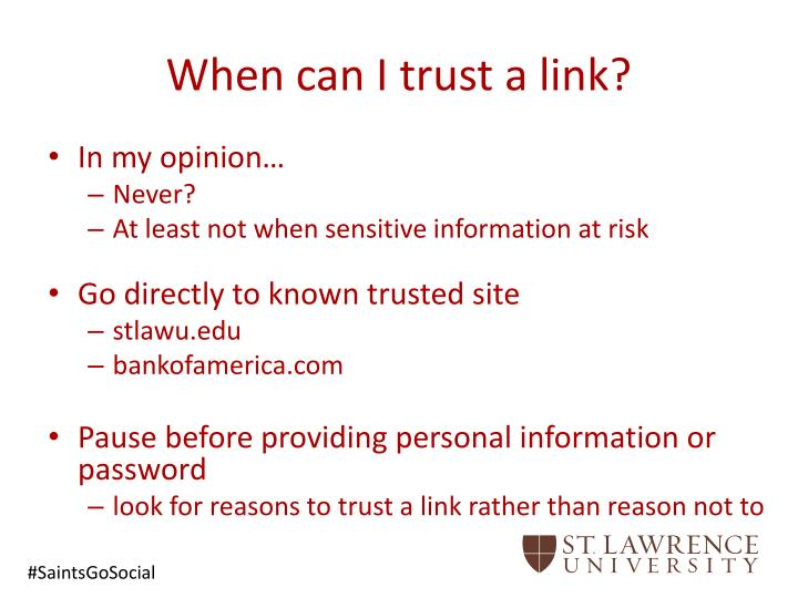 When can I trust a link?