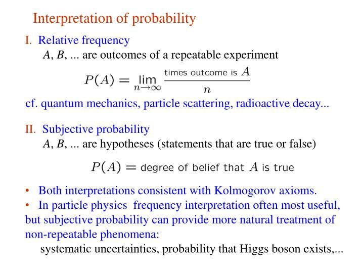 Interpretation of probability