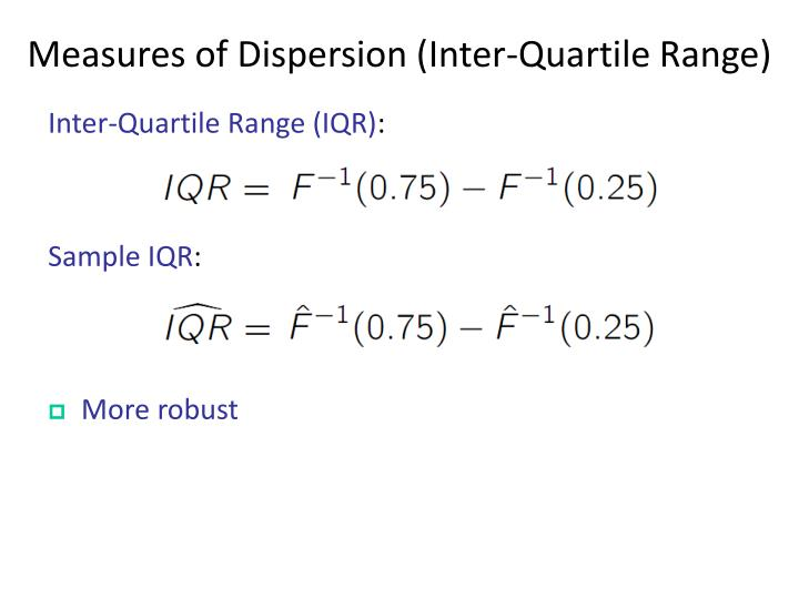 Measures of Dispersion (Inter-Quartile Range)
