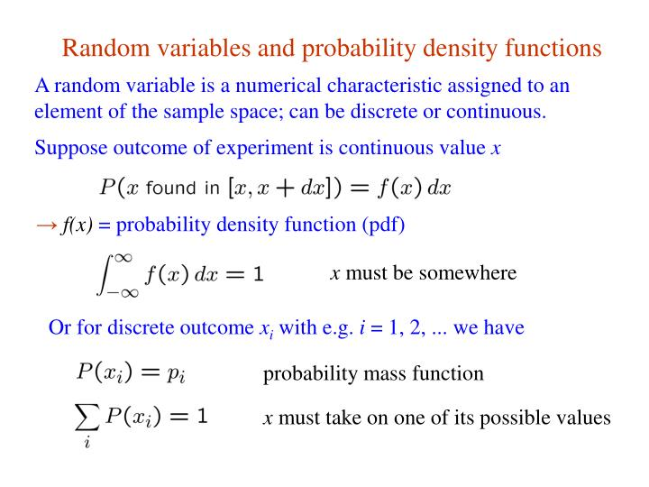 Random variables and probability density functions
