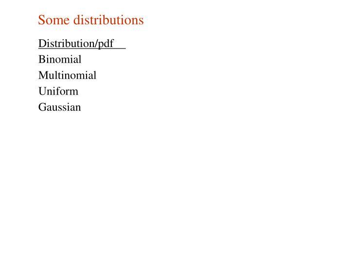 Some distributions
