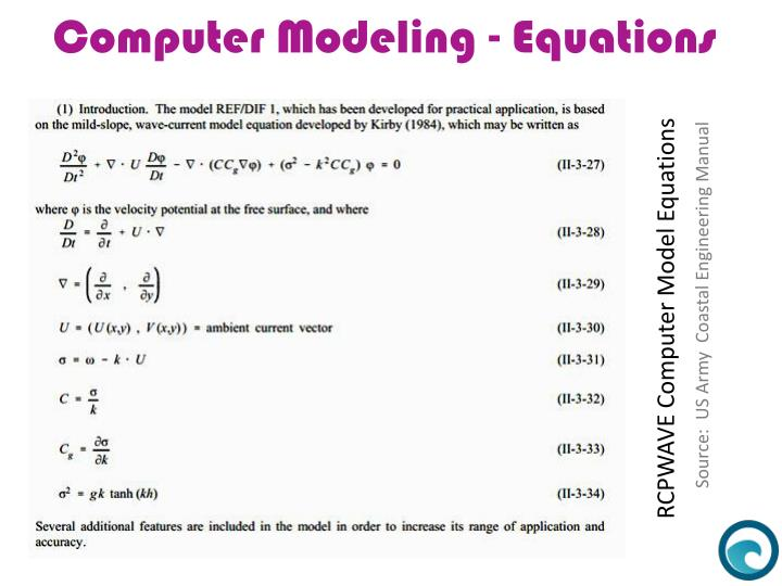 Computer Modeling - Equations